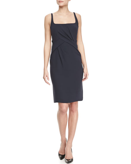 Scoop-Neck Sleeveless Dress, Navy