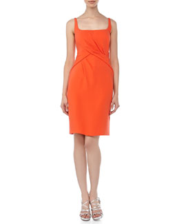 J. Mendel Scoop-Neck Sleeveless Dress, Tiger Lily