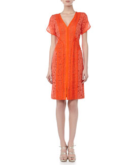 J. Mendel Lace Dress with Organza Overlay, Tiger Lily
