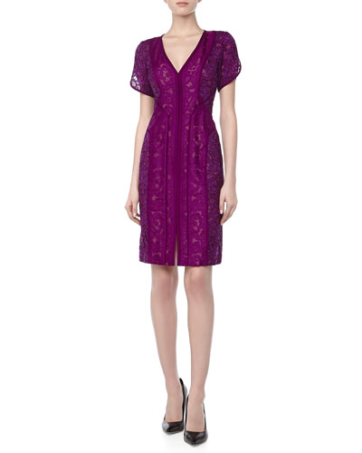 J. Mendel Lace Dress with Organza Overlay, Viola