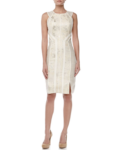 Sleeveless Jacquard Sheath Dress, Pearl