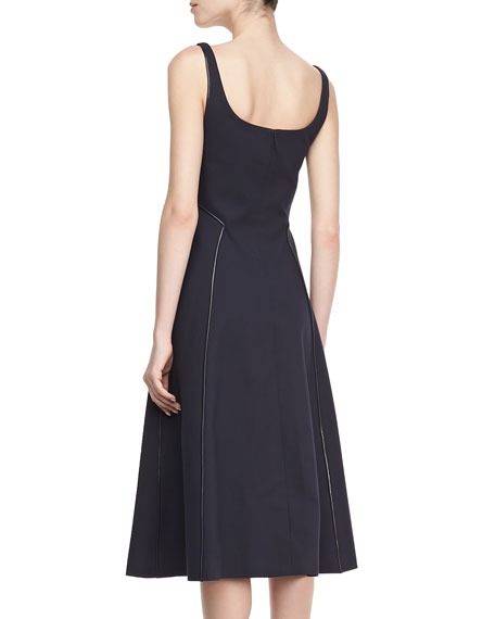 Tea-Length Square-Neck Piped Dress
