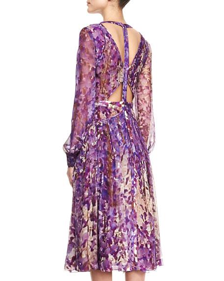 Printed Silk Chiffon Pleated Dress
