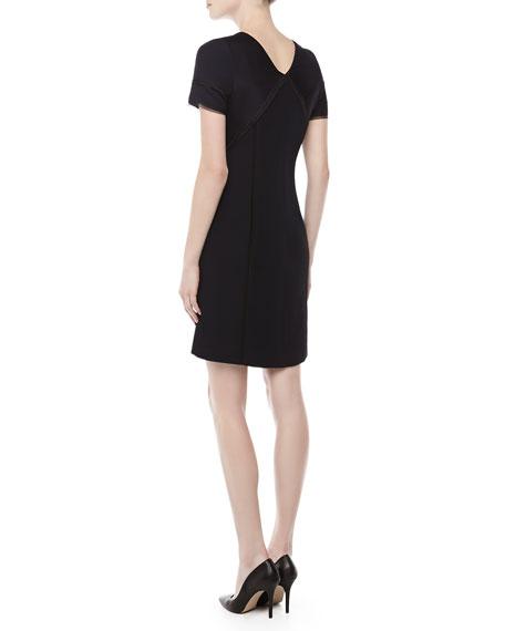 Short-Sleeve Textured Sheath Dress, Navy
