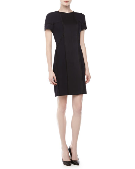 Short-Sleeve Textured Sheath Dress, Navy
