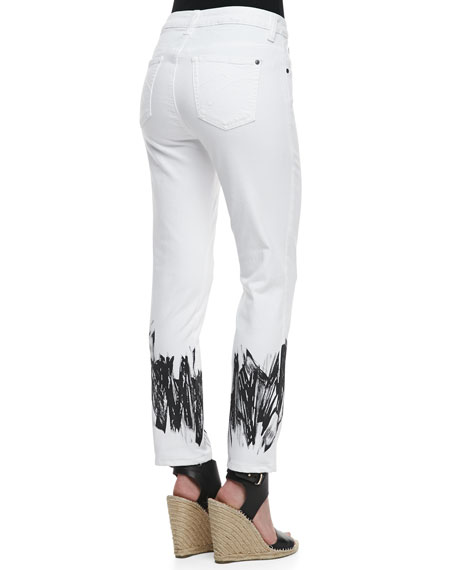 Sandra D. Control-Panel Paint-Printed Jeans
