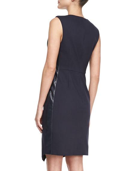 Sleeveless Wrapped V-Neck Dress, Navy