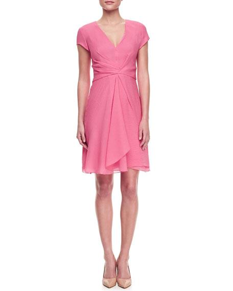Cloque Cap-Sleeve Dress, Strawberry
