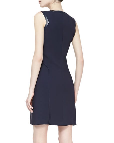 Sleeveless Sheath Dress with Leather Piping
