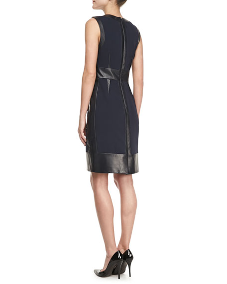 Sleeveless Leather-Panel Dress