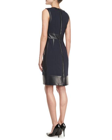 Sleeveless Leather-Panel Dress