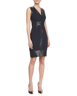 J. Mendel Sleeveless Leather-Panel Dress