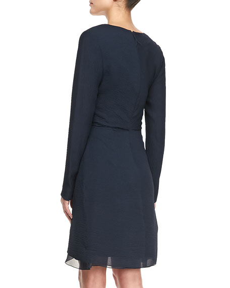 Long-Sleeve Chiffon Dress