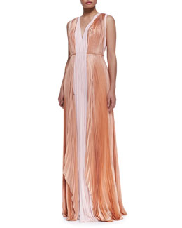 J. Mendel Sleeveless Silk Bicolor Gown