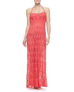 Red Carter Full-Length Crochet Halter Coverup Dress