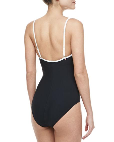 Contrast-Trim Underwire One-Piece Swimsuit