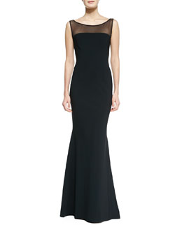 La Petite Robe by Chiara Boni Sleeveless Illusion Boat-Neck Mermaid Gown