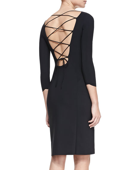 Jersey Crisscross Laced-Back Cocktail Dress