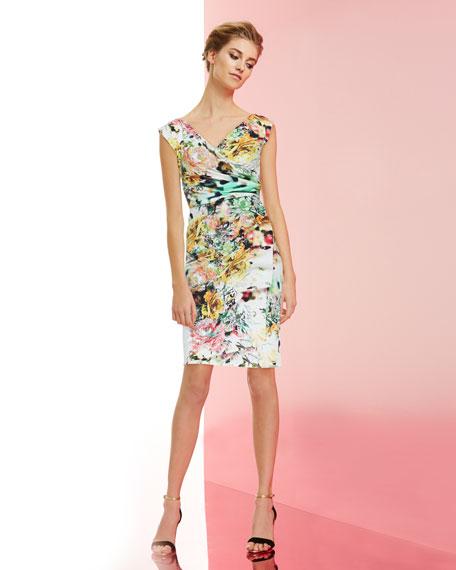 Egea Printed Faux-Wrap Jersey Cocktail Dress
