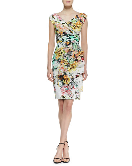 Egea Printed Faux-Wrap Jersey Cocktail Dress