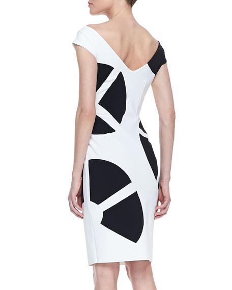 Cap Sleeve Fan Print Cocktail Dress, White/Black