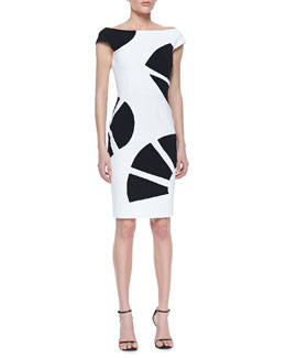 La Petite Robe di Chiara Boni Cap Sleeve Fan Print Cocktail Dress, White/Black