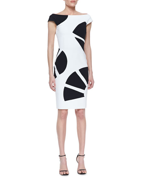 Cap Sleeve Fan Print Cocktail Dress, White/Black