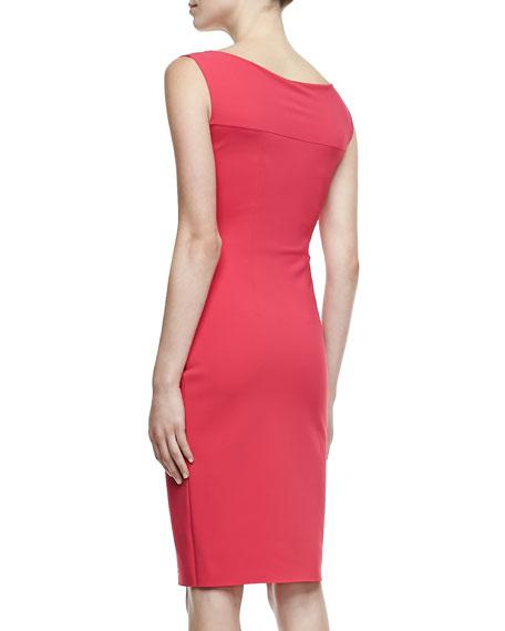 Rachela Sleeveless Burst-Side Cocktail Dress
