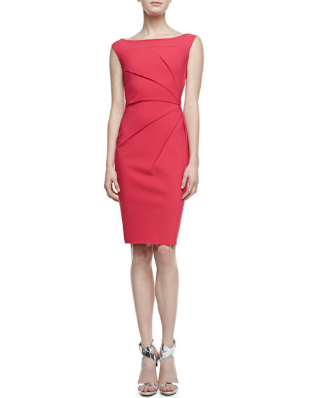 Rachela Sleeveless Burst-Side Cocktail Dress