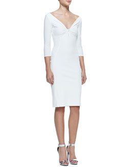 La Petite Robe by Chiara Boni 3/4-Sleeve Twist Top Cocktail Dress, 070 Bianco