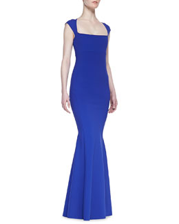 La Petite Robe by Chiara Boni Cap Sleeve Mermaid Gown, Zaffiro Blue