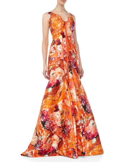 Sleeveless Floral-Print Silk Gown