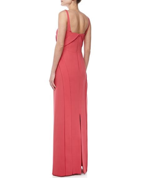 Sleeveless Bias-Front Silk Gown, Strawberry