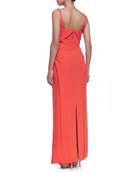 Sleeveless Bias-Front Silk Gown, Tiger Lily