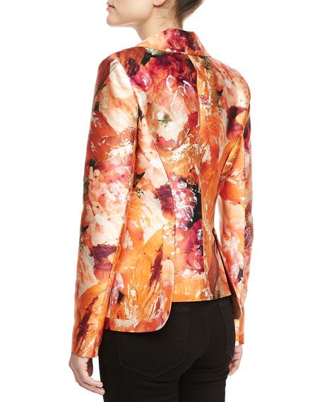 Mikado Tiger Lily-Print Tailored Blazer