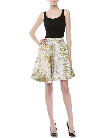 Box-Pleated A-line Skirt, Waterlily
