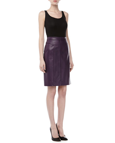Lambskin Pencil Skirt, Blackberry