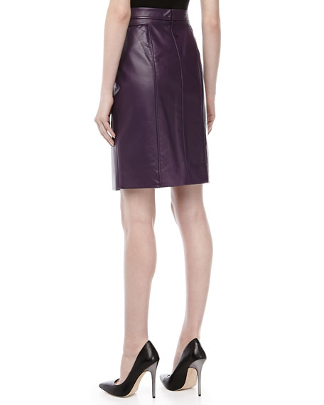 Lambskin Pencil Skirt, Blackberry