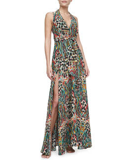 Lazul Nambassa Melba Halter Maxi Coverup Dress