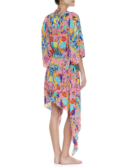 Psychedelia Gia Tie-Waist Caftan Coverup