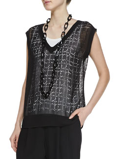 Eileen Fisher Laser-Cut Telegraph Chiffon Top