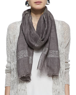 Eileen Fisher Shimmery Striped Scarf, Taupe