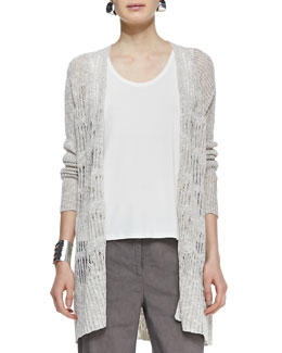 Eileen Fisher Knit Mesh Straight Cardigan