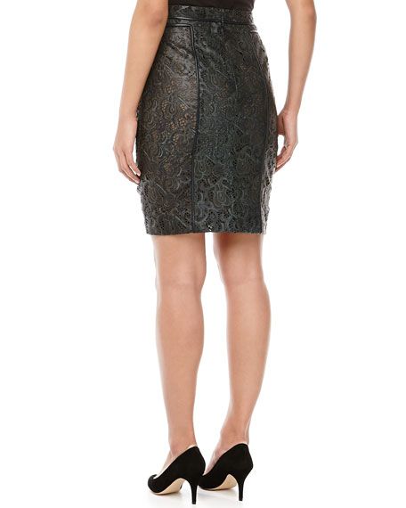 Lace Leather Pencil Skirt