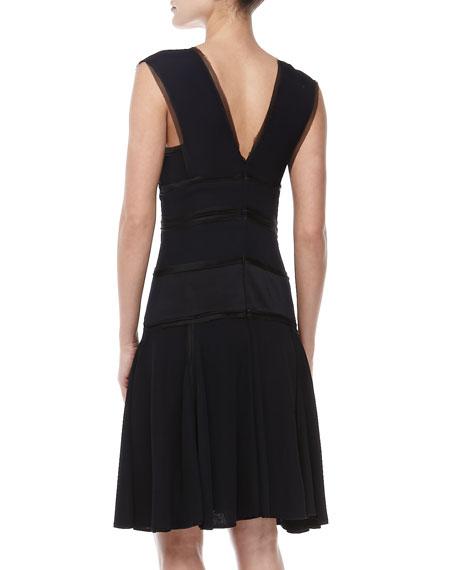 Sleeveless V-Neck Knit Dress, Navy