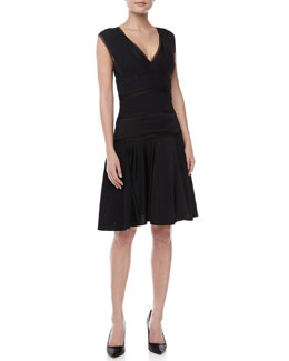J. Mendel Sleeveless V-Neck Knit Dress, Navy