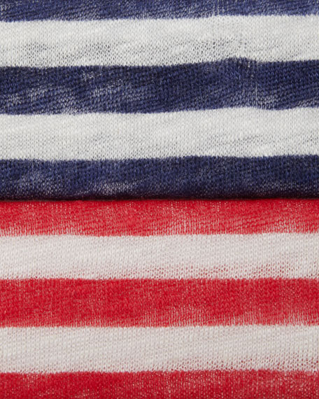 Striped-Linen Three-Quarter Sleeve Tee