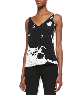 Tibi Splatter-Paint Printed V-Neck Top