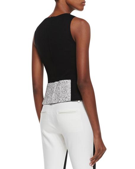 Sleeveless Tweed Colorblock Top