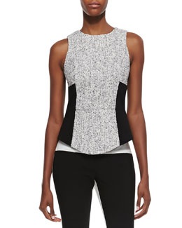 Tibi Sleeveless Tweed Colorblock Top